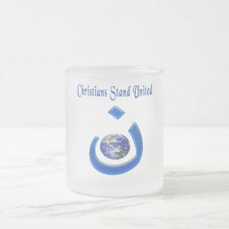 Christian solidarity merchandice 10 oz frosted glass coffee mug