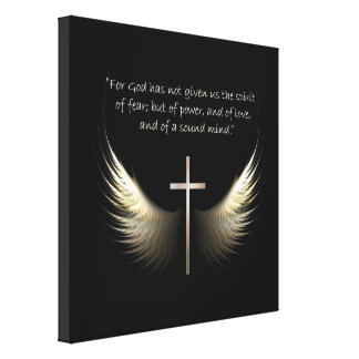 Christian Spirit and Cross 2 Timothy 1:7 Scripture Canvas Print