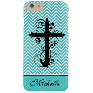 Christian Swirling Cross Personalized Chevron Barely There iPhone 6 Plus Case