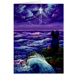 Christian Sympathy Cat Mouse Ocean Creationarts Card
