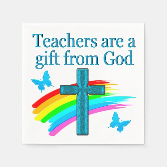 CHRISTIAN TEACHER CROSS AND BUTTERFLY DESIGN DISPOSABLE NAPKINS