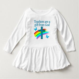 CHRISTIAN TEACHER CROSS AND BUTTERFLY DESIGN DRESS
