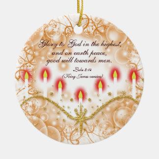 Christian verse Christmas candles Round Ceramic Ornament