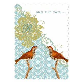 Christian Vintage Birds Damask Wedding Invites