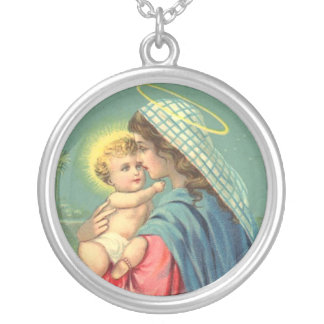 Christian Virgin Mary and Baby Jesus Necklace