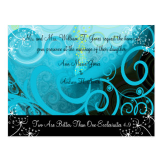 Christian Wedding Invitation Blueberry Cala Lily Postcard