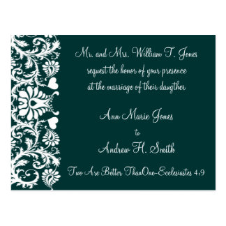 Christian Wedding Invitation Deep Teal Postcard