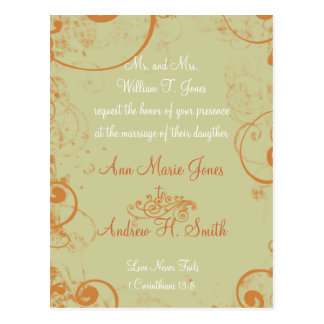 Christian Wedding Invitation Orange White Taupe Postcard