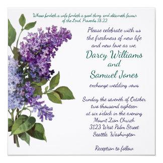 Christian Wedding Invitation - Vintage Lilacs