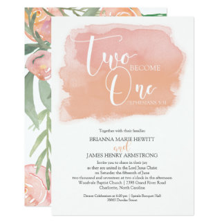 Christian Wedding Watercolor Floral and Coral Card