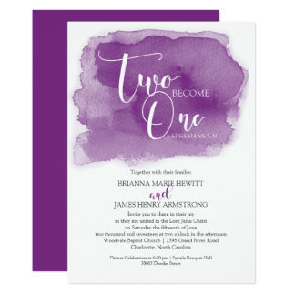 Christian Wedding Watercolor Purple Card