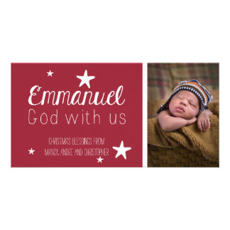 Christian Whimsical Stars Photo Christmas Card Personalized Photo Card