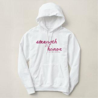 Christian womens hoodie: Strength & Honor Embroidered Hoodie