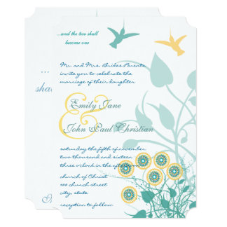 Christian Yellow & Teal Invitation Hummingbirds