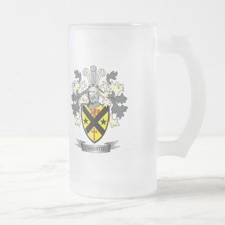 Christie Family Crest Coat of Arms Frosted Glass Beer Mug
