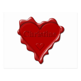Christine. Red heart wax seal with name Christine. Postcard