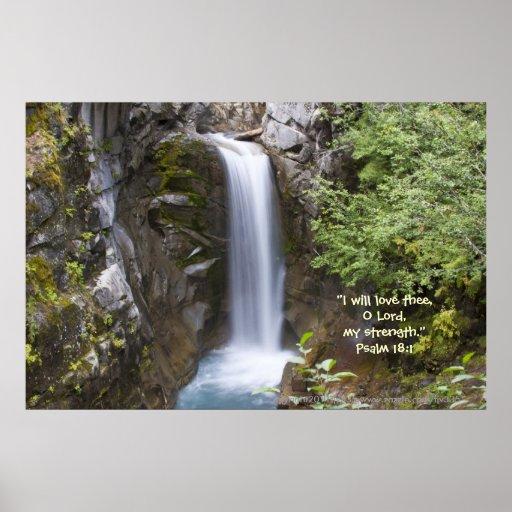 Christine Waterfall HDR Print w/Scripture Verse