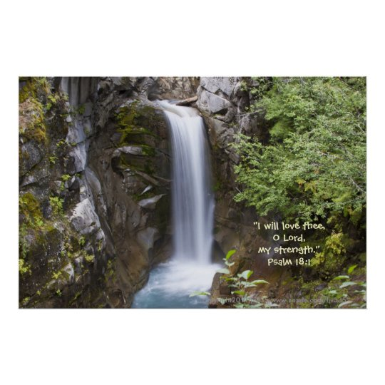 Christine Waterfall HDR Print w/Scripture Verse
