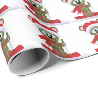 Christma skiing bear wrapping paper