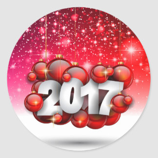 Christmas 2017 and New Year Greetings Card Classic Round Sticker