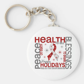 Christmas 4 Head And Neck Cancer Snowflakes Keychains