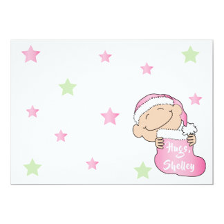 """Christmas 7"""" x 5"""" Baby Pink Thank You/2 sided/Flat Card"""