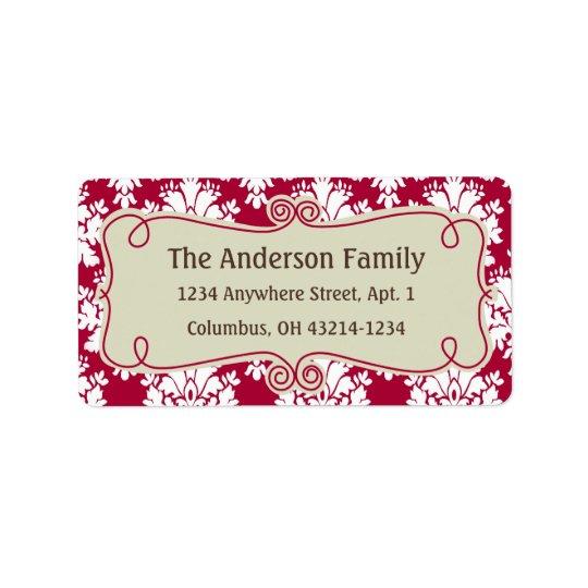Christmas 9 : Damask Design 10 Return Address Label