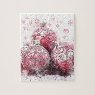 Christmas abstract decoration red balls jigsaw puzzle