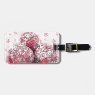 Christmas abstract decoration red balls luggage tag