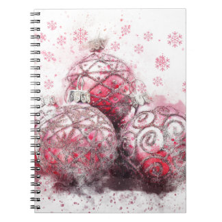 Christmas abstract decoration red balls spiral notebook