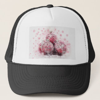 Christmas abstract decoration red balls trucker hat