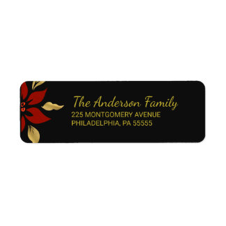 Christmas Abstract Red Poinsettia Return Address