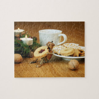 Christmas acorn elf eating candy jigsaw puzzle