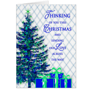 Christmas, Across the Miles, Blue/Tree, Gifts Card