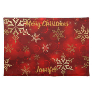 Christmas Add Your NAME Red & Gold Festive Fabric Placemat
