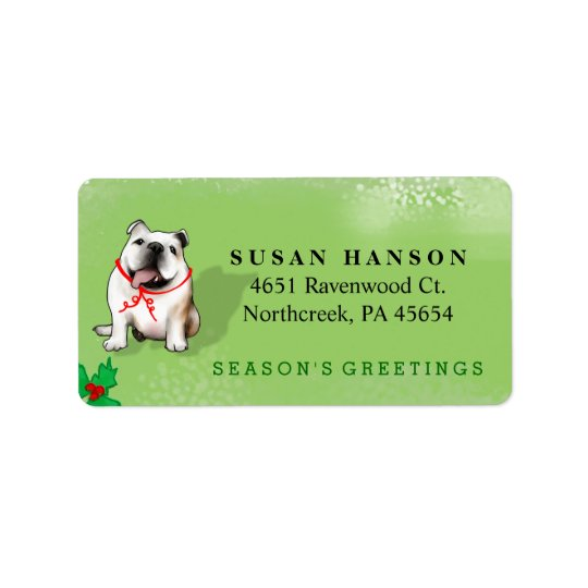 Christmas Address Label - Bulldog - GREEN