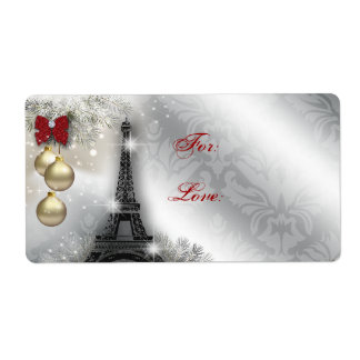 Christmas Address Label Eiffel Tower Paris France