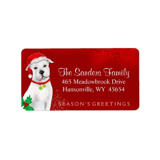 Christmas Address Label - White Pitbull - RED