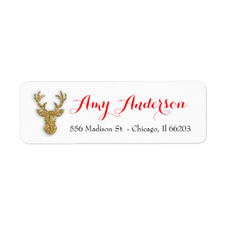 Christmas Address Label with Gold Glitter Deer