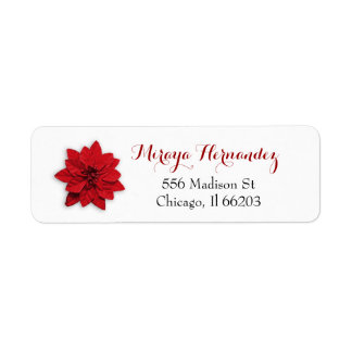 Christmas Address Label with Red Poinsettia