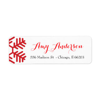 Christmas Address Label with Red Snowflake