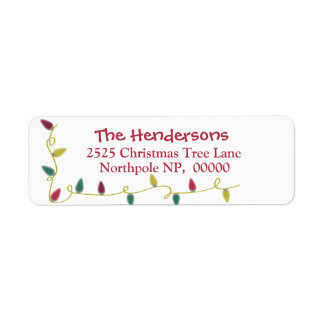 Christmas Address Labels with Christmas Lights