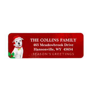 Christmas Address Return Label - White Pitbull Return Address Label