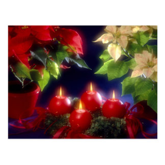 Christmas, Adventsk burning red candles festively, Postcard
