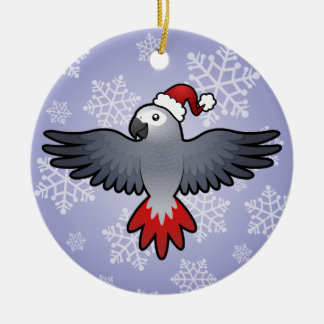 Christmas African Grey (medium bird) Round Ceramic Ornament