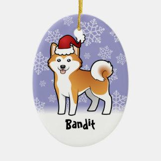 Christmas Akita Inu / Shiba Inu (add pets name) Ceramic Ornament