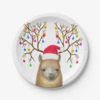 Christmas Alpaca Paper Plates