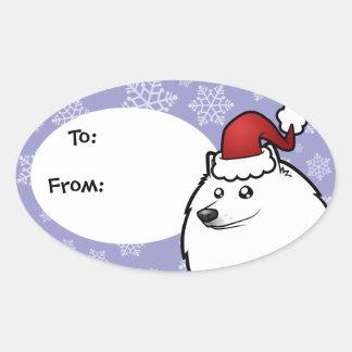 Christmas American Eskimo Dog / German Spitz Oval Sticker