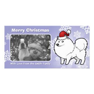 Christmas American Eskimo Dog / German Spitz Photo Greeting Card