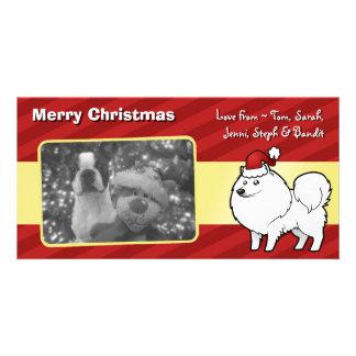 Christmas American Eskimo Dog / German Spitz Photo Card Template